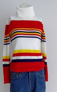 Vintage 70s Mod striped turtle neck knit shirt